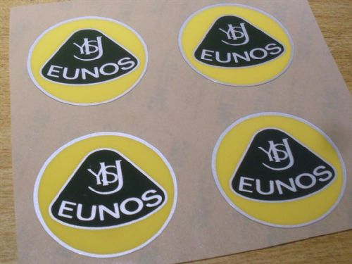 Badge, plastic, Eunos, retro style, 55mm, yellow/green, set of 4